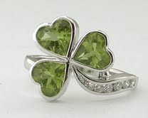 Emerald Peridot Shamrock Ring